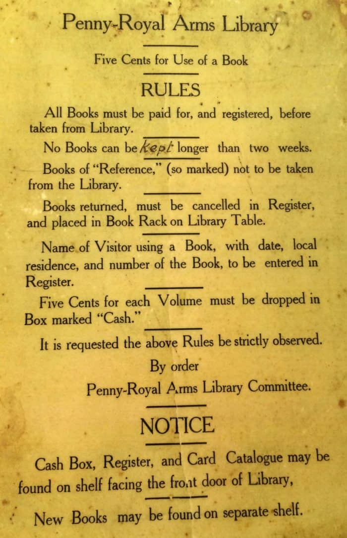 Pennyroyal Library Rules