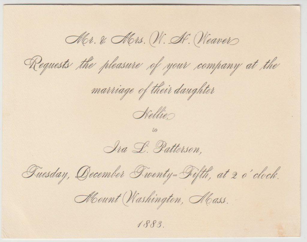 Wedding invitation – Nellie Weaver to Ira Patterson – 1883
