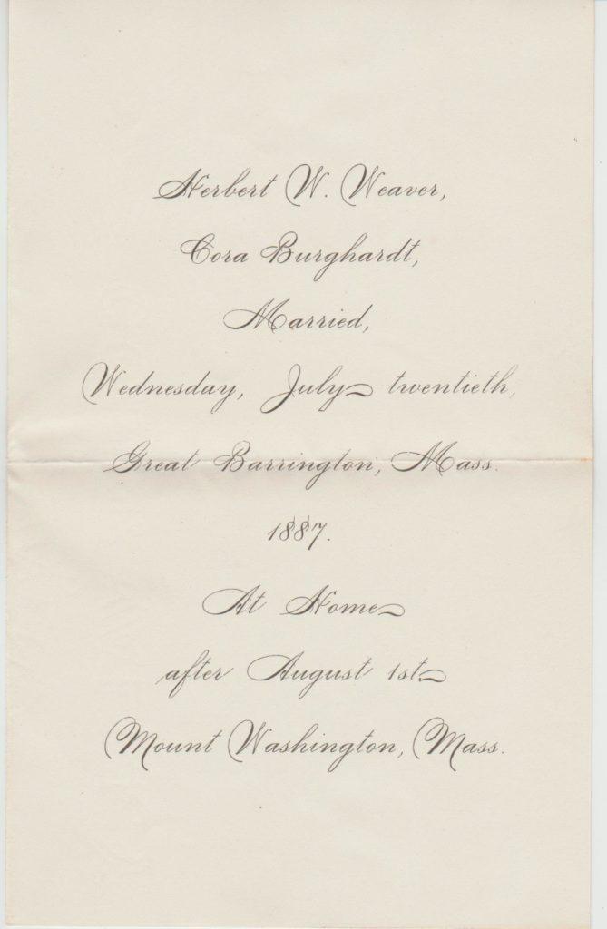 Wedding announcement – Herbert Weaver to Cora Burghardt – 1887