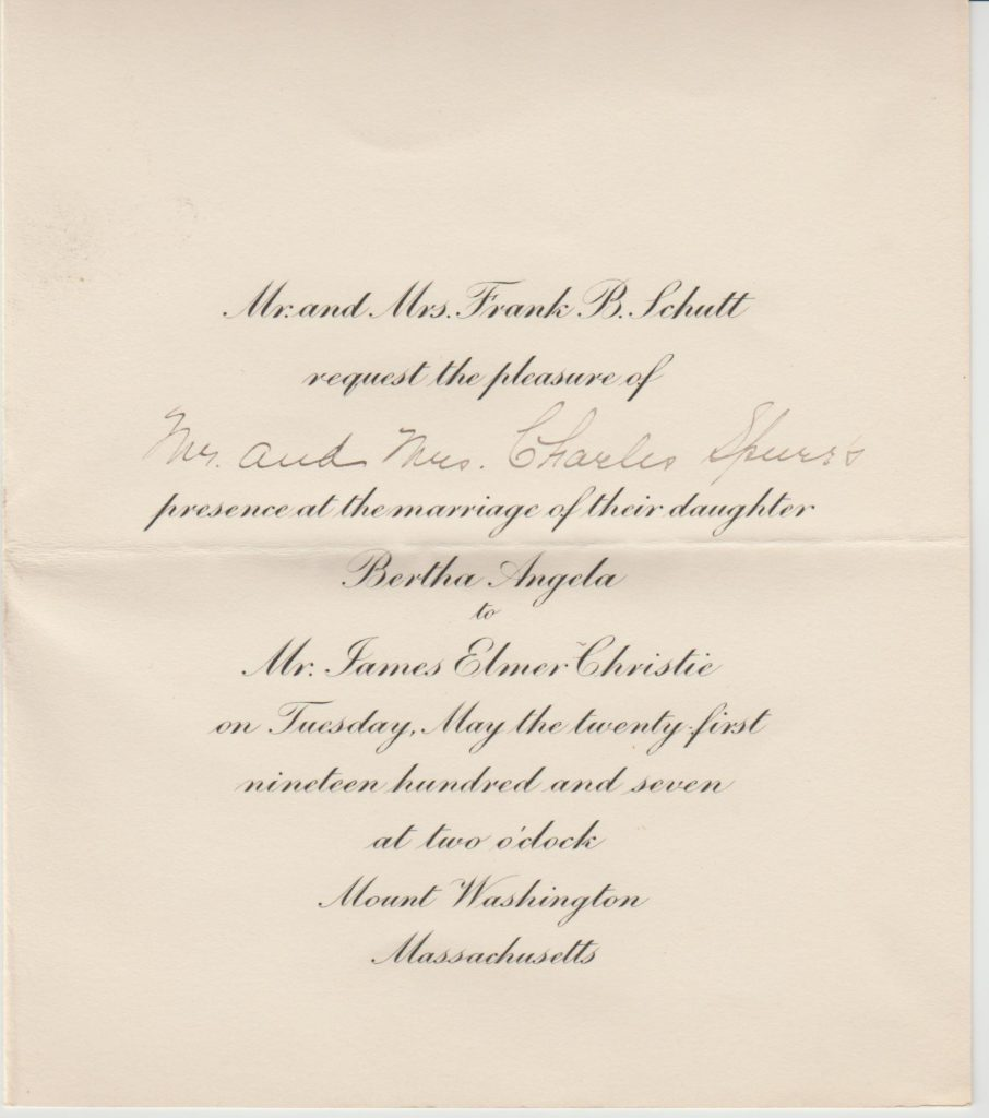 Wedding invitation – Bertha Schutt to James Christie – 1907