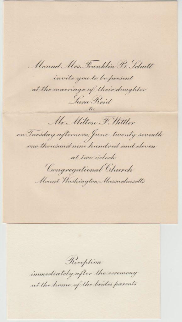 Wedding invitation – Lura Schutt to Milton Wittler – 1911