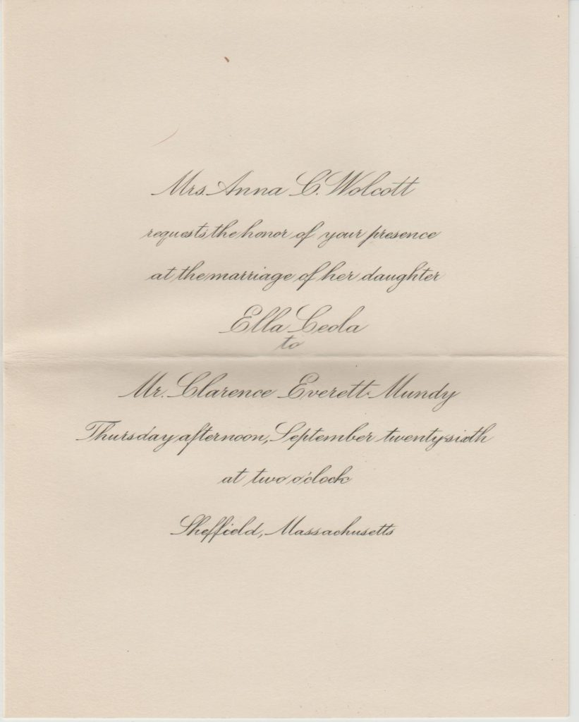 Wedding invitation – Ella Ceola Wolcott to Clarence Everett Mundy