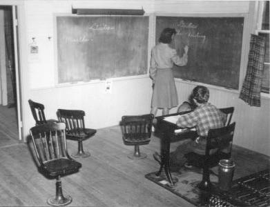 Peg Mahar Laragh at the Blackboard of the North School