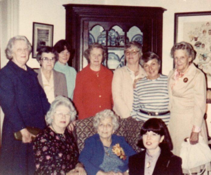 Front row: L-R Marion Jones, Gladys Weaver, Nancy Wessel Back row: L-R Agnes Siegel, Alice Brush, Peg Whitbeck, Lillian Jones, Doris Southergill, Better Wright, Todd Garret