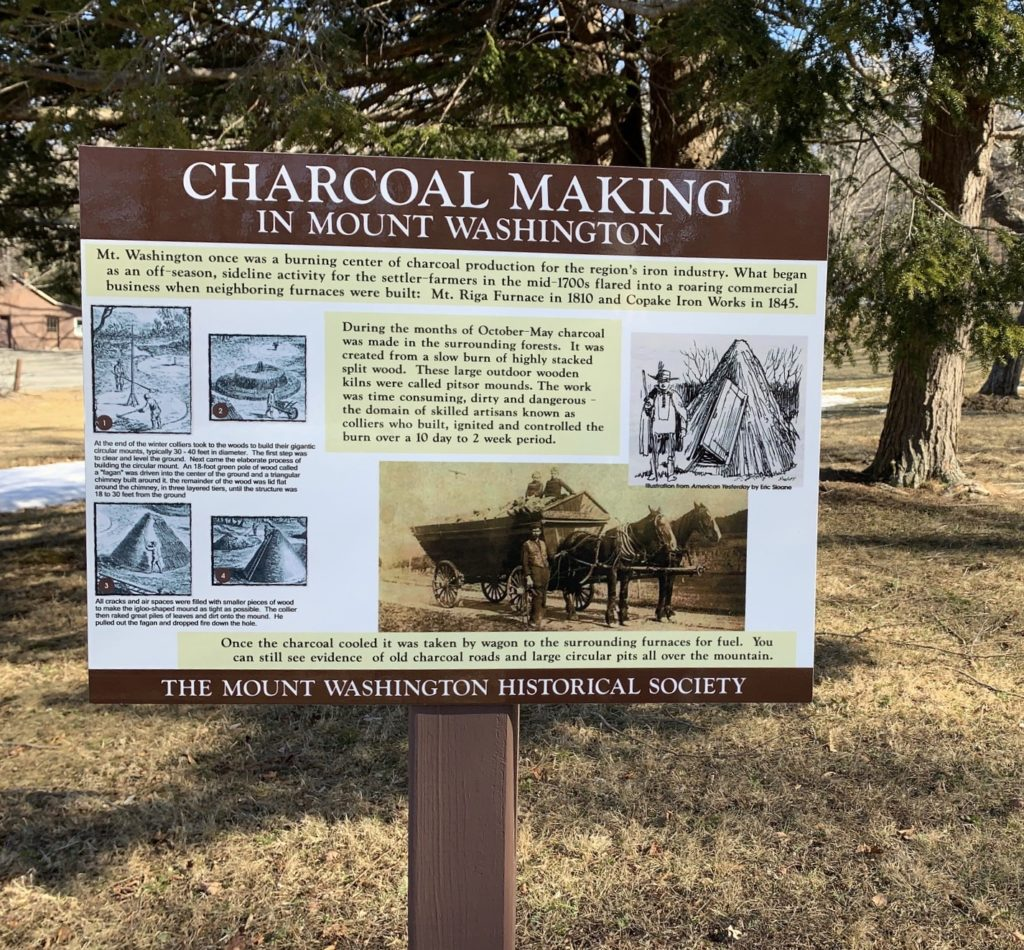 Charcoal Making Historical Sign Marker at Park Headquarters