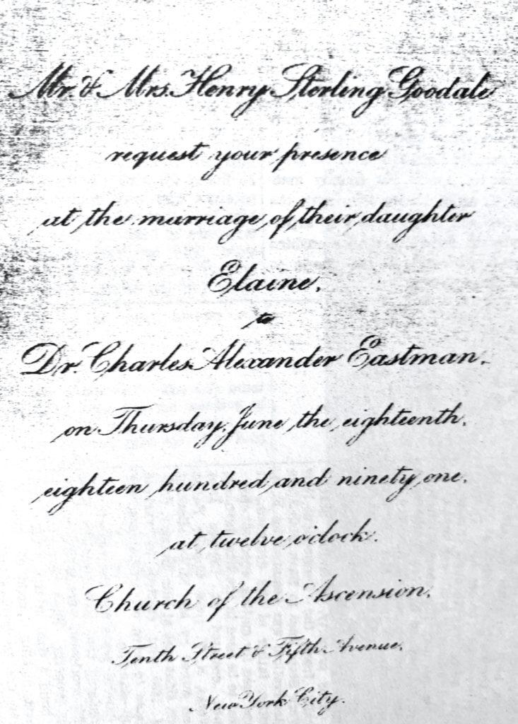 Wedding Invitation Elaine Goodale and Dr. Charles Eastman